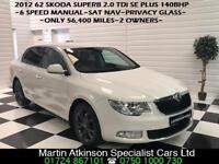 2012 62 Skoda Superb 2.0 TDi 140BHP SE Plus Saloon 6 Speed Manual Diesel