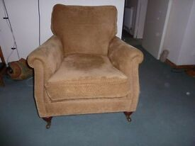sofa 2 seater + 2 matching chairs golden brass colour