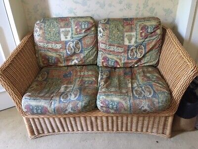 2 seater wicker sofa used HARRODS (RRP £2500) with vintage patterned fabric