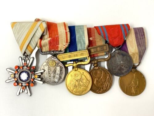 6 WWII WW2 Japanese Soldier War Medal Lot Set Japan Military Medals Uniform Bar