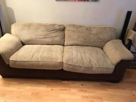Leather Hide 3 Seater Sofa and Armchair with Foot Stall and Soft Cushions