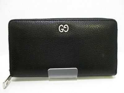 Auth GUCCI Leather Zip Around Wallet 473928 Black Leather Long Wallet