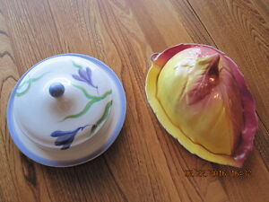 CHEESE SAVERS / BUTTER DISHES 1 Round 1 Slanted Acorn