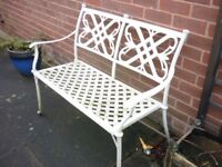 White Steel Garden Bench/Seat