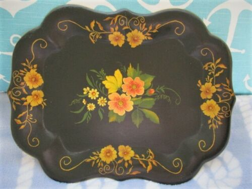 Vintage Hand Painted Peach & Yellow Roses Dresser / Wall New England Tole Tray