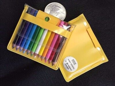 Be-Goody 12 Japanese Miniature Colored Pencils in Pouch-YELLOW-ONE POUCH SET.