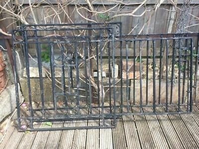 PAIR OF BLACK WROUGHT IRON HEAVY DUTY DRIVEWAY GATES