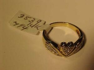 #3539-DELIGHTFUL LITTLE RING FOR THE STOCKING!!14k heart design with 19 diamonds-Size 7 1/4-FREE S/H IN CANADA  INTERAC