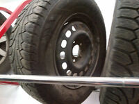 4 x winter tire for sale on steel rim (5 bolts) 205/70/R15