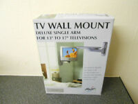"""TV Wall Mount For 13"""" - 17"""" Televisions. Delux Single Arm. Never Used"""