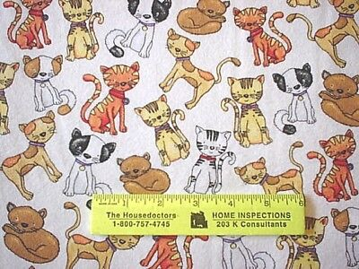 ALL  DIFFERENT  TYPES  OF  CATS  ON  WHITE   COTTON  FLANNEL   $4.50  By Yard