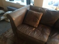 2 and 3 seater brown leather sofas , matching cushions and foot rest