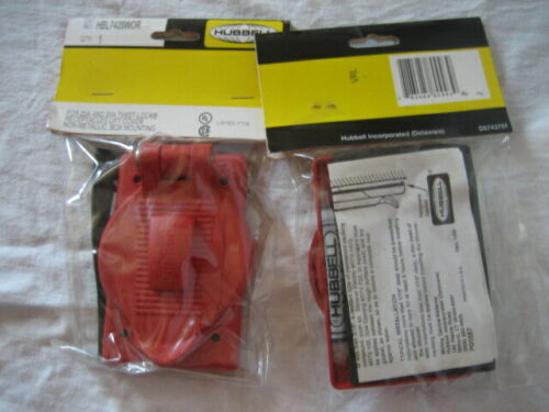 1 HUBBELL Lift Cover Plate 20/30AMP Marine Receptacle Cover Red HBL7428WOR NEW