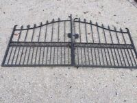 heavy duty wrought iron driveway gates, 12ft by 6-6.5ft , classical design black