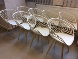 Modern Dining Chair - White Seat and Wood Leg ( 8 available ) Price per chair