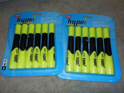 2 Six-pack Staples Hype Gripped Highlighters Chisel Tip Highlighter Hype Yellow