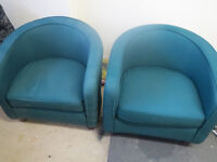 2 x retro tub chairs, green/teal office reception chair, for home or business, bar arts crafts prop