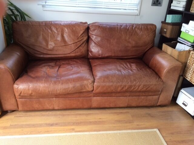 Vintage Tanning Company Halo Soho 3 Seater Sofa Brown Aniline Lovely Condition