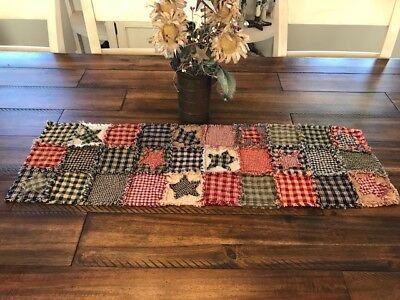 NEW Homespun PriMiTivE Rag Quilt Table Runner Multi color Patchwork Stars Plaid