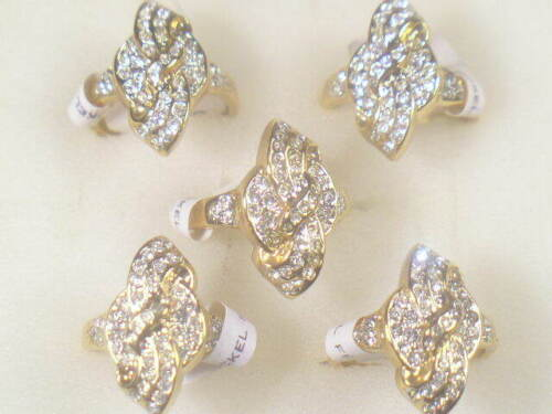 5.....DESIGNER DOLPHIN ORE VINTAGE  RINGS WITH SWAROVSKI CRYSTALS   LOT 002UP