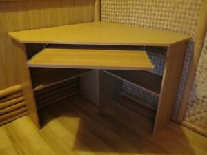 (REDUCED) COMPUTER DESK WITH KEYBOARD TRAY AND CHAIR FOR CORNER