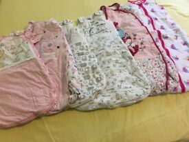 Bundle of baby girls sleeping bags