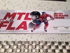 4 Billets, Montréal contre Panthers, 220$, 30 mars