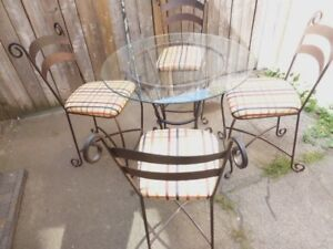 Metal Table with Glass Top BISTRO Table PUB Table