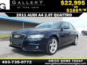 2011 Audi A4 2.0T QUATTRO $169 bi-weekly APPLY NOW DRIVE NOW