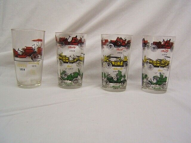 """Lot of 4 Old Fashioned Car Tumblers 3 Alike  5"""" Height VGC"""