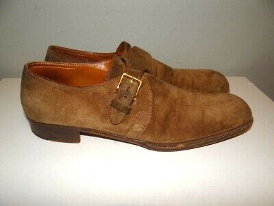 John Lobb Brown Suede Single Monk Strap Dress Shoes