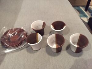 Set of five brand new green tea cups and five dishes