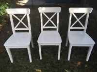 3 x White Ikea Dining Chairs - Ingolf