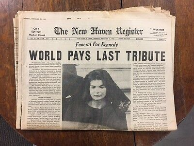 New Haven Register Newspaper Kennedy Funeral Nov  25 1963 Complete Original P 11
