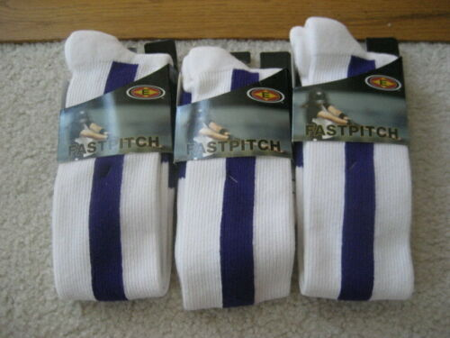 EASTON Fastpitch Softball Socks PURPLE Stripe Adult Womens Large (3) Pair -NEW