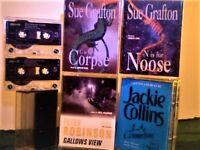 SUE GRAFTON, PETER ROBINSON, JOANNE HARRIS, JACKIE COLLINS PRERECORDED 2&4 AUDIO BOOK CASSETTE TAPES