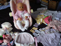 FOR SALE - BABY ANNABELL DOLL, CARRYTOT CHAIR, BABYSLING CARRIER, CLOTHES ETC