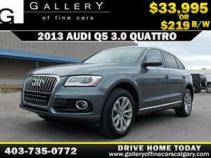 2013 Audi Q5 3.0 QUATTRO AWD $219 bi-weekly APPLY NOW DRIVE NOW