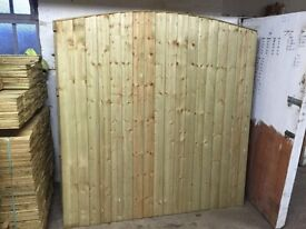 Arch/bow top feather edge fence panels pressure treated