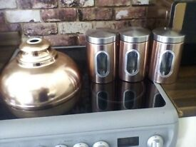 Copper tea coffee and sugar canisters also light shade