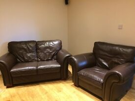 Leather two Seater Sofa and chair (collect from Tarleton)