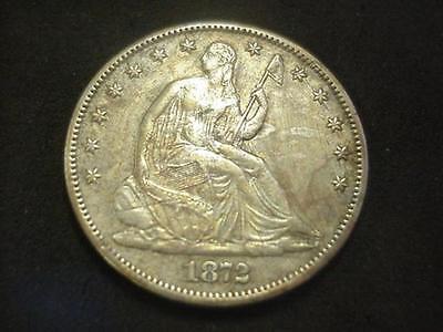 1872 CC LIBERTY SEATED HALF DOLLAR EXTRA FINE XF  BEAUTY