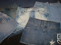DENIM MINI SKIRTS X 5 SIZE 8/10 SMALL/GREAT FOR HOLIDAYS/CLUBBING