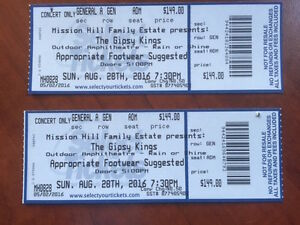2 Tickets - Gipsy Kings Mission Hill August 28th, Kelowna