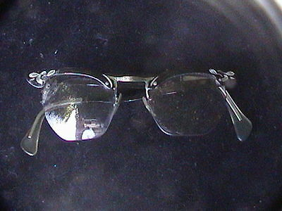 Cool Vintage 50s glass frames glasses prescription black & silver tone
