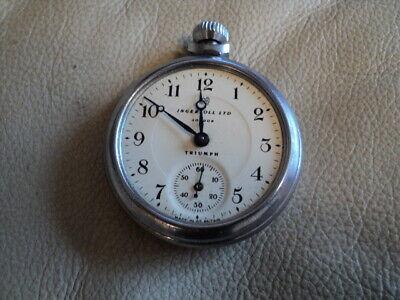 Vintage INGERSOLL LTD London TRIUMPH Wind Up Pocket Watch (Parts or Repair)