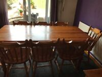 Kitchen Pine Table with 8 Chairs