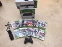 XBOX 360 & KINECT SENSOR BAR PLUS 14 GAMES - ALL BOXED - IDEAL CHRISTMAS PRESENT!