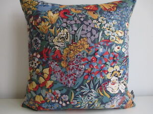Liberty Of London Cottage Garden Cotton Blue & Navy Linen Fabric Cushion Cover