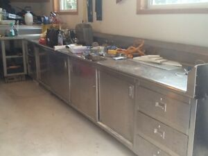 Solid stainless steel work bench